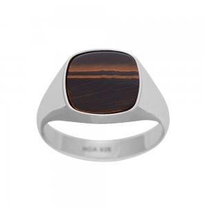 NOA - SON rhd sølv ring m. yellow tiger eye