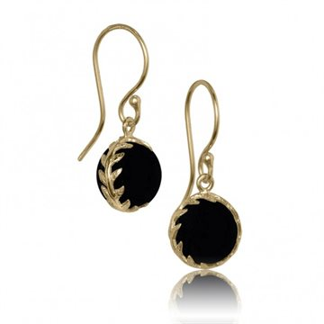 My Energy by Julie Berthelsen - Arktisk Pilegren Ørering - Forgyldt med Sort Onyx
