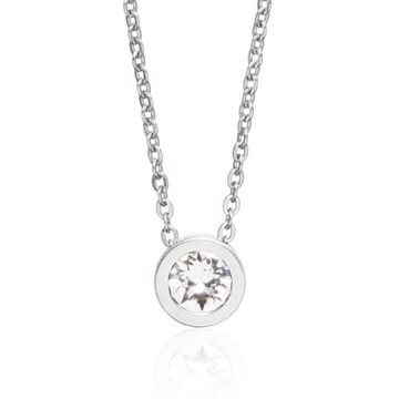 Grand Bezel Crystal 8mm Neclace Silver