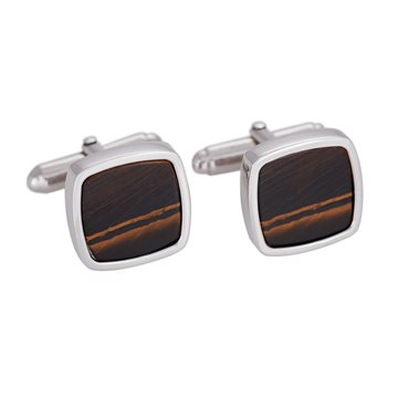 SON of NOA -  Rhd. silver cufflinks with yellow tiger eye