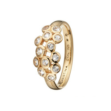 Christina Jewelry & Watches - Champagne Love ring - forgyldt sølv m/ topas  800-3.13.B