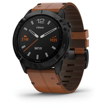 Garmin - fēnix 6X Sapphire - Black w/Brown Leather (Ekstra rem)