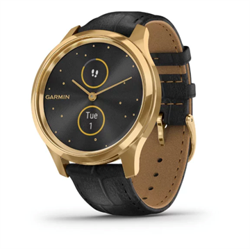 Garmin - Vívomove Luxe - 24K gold PVD stainless steel w. black Italian leather band