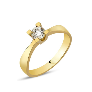 Nuran - Diamanten Solitaire Ring i 14kt rødguld med 0,10ct W/si STR 54