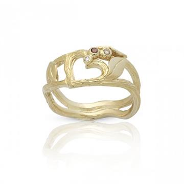 Nuran - 14kt Nature Ring med 0,04ct diamant. str 55