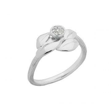 Nuran - Nature Ring 14kt hvidguld m. 0,07ct w/si L1764
