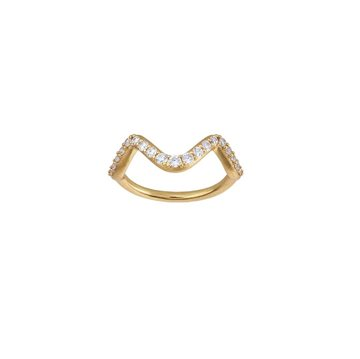 ByBiehl - Wave sparkle small ring 14kt forgyldt