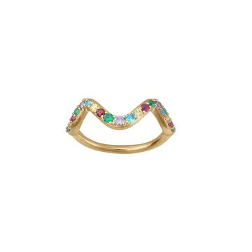 ByBiehl - Wave rainbow small ring 14kt forgyldt