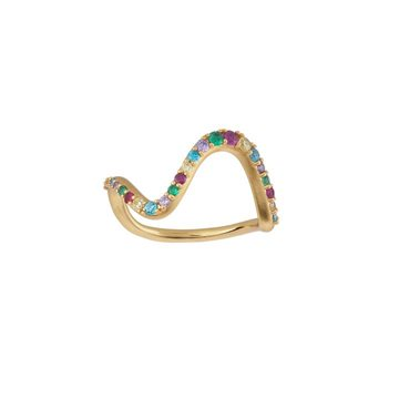 ByBiehl - Wave rainbow large ring 14kt forgyldt