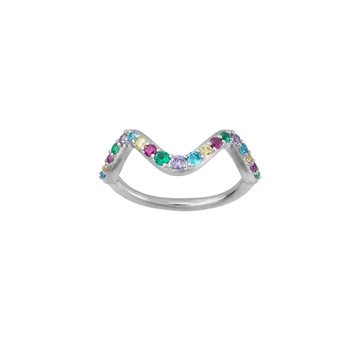 ByBiehl - Wave rainbow small ring sterling sølv